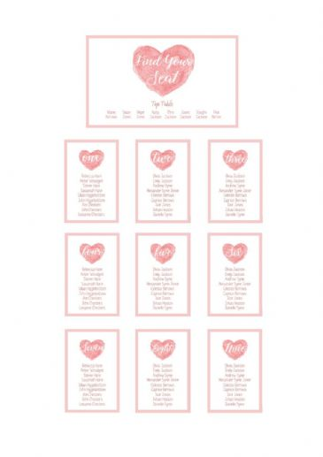 Watercolour Heart Table Plan